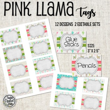 Pink Llama Tags for Cubbies, Name Tags and Coat Hooks