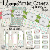 Pink Llama and Cactus binder covers, spines and tags