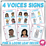 Blue, Pink, & Loose Leaf Music Classroom Decor: 4 Voices Anchor Charts