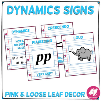 Blue, Pink, & Loose Leaf Music Classroom Decor: Dynamics