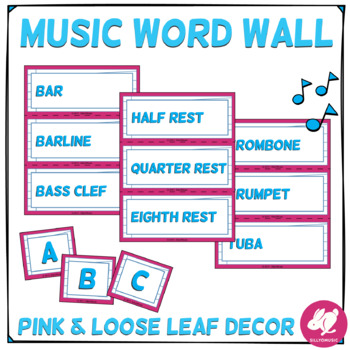 Blue, Pink, & Loose Leaf Decor: Music Word Wall