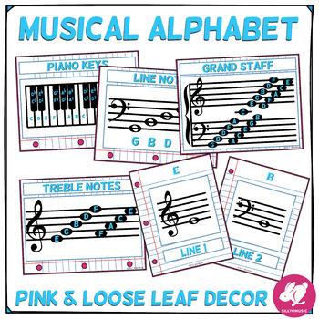 Pink & Loose Leaf Decor: Musical Alphabet, Lines & Spaces