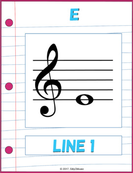 Pink & Loose Leaf Music Classroom Decor: Musical Alphabet, Lines & Spaces