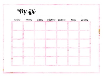 Pink Marble Blank Monthly Calendar