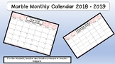 Pink Marbled Monthly Calendar 2018 - 2019