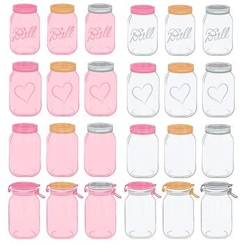 Pink Mason Jars Clipart & Vectors - Ball Jar Clipart