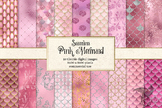 Pink Mermaid Digital Paper, seamless glitter mermaid patte