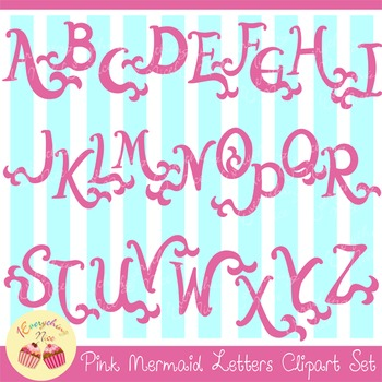 Pink Mermaid Letters Clipart Set