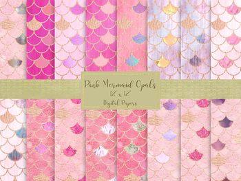 "Pink Mermaid Opals Digital Papers, High Resolution 12"" x 12"" Printable Files."