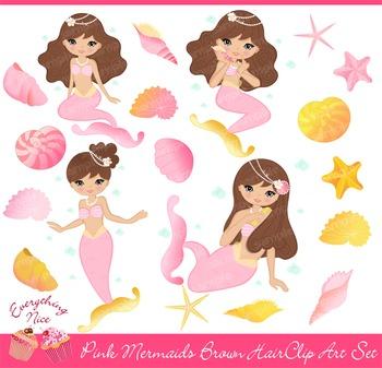 Pink Mermaids Clipart Set