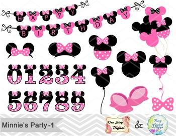 Pink Minnie Digital Clip Art, Pink Minnie Birthday Clip Art, 00173