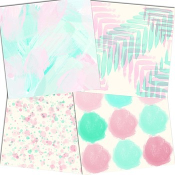 Pink & Mint Acrylic Inspired - Digital Papers