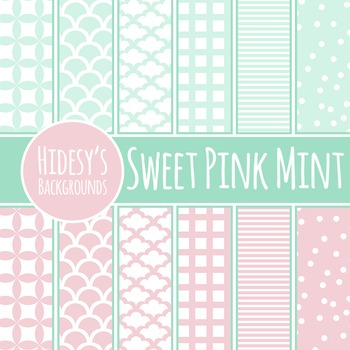 Pink Mint Backgrounds / Digital Papers / Patterns Clip Art Commercial Use