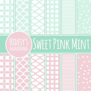 Pink Mint Backgrounds / Digital Papers / Patterns Clip Art