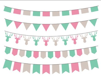 Pink Mint Bunting, Party Flag, Flag Clipart Set #016