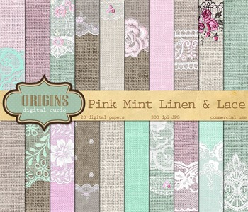 Pink Mint Linen Burlap Lace Digital Scrapbook Paper Textures Backgrounds