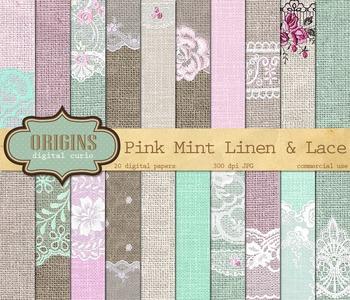 Pink Mint Linen Burlap Lace Digital Scrapbook Paper Textures Backgrounds