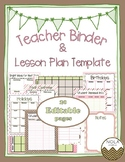 Pink Mint Teacher Binder/Lesson Plan Template- EDITABLE