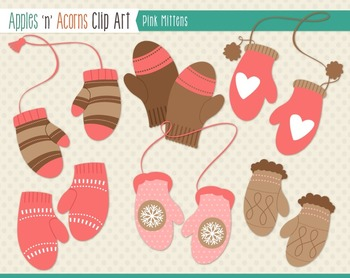 Pink Mittens Clip Art - color and outlines