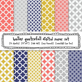 Pink, Mustard Yellow, Navy Blue and Gray Quatrefoil Digital Paper, TpT Sellers