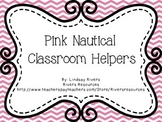 Pink Nautical Classroom Helpers