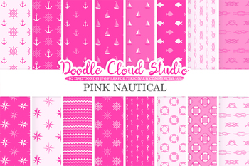 Pink Nautical digital paper, Seal patterns, Ocean Steering wheel, Fishes