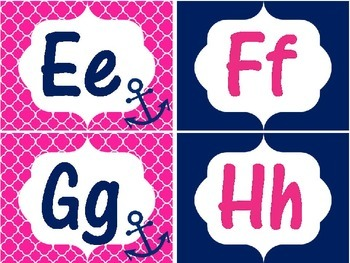 Pink & Navy Anchor Alphabet