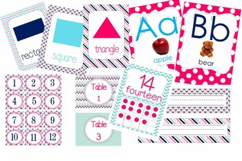 Pink Navy Gray *Preppy * Theme Class Decor Pack