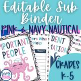 Pink & Navy Nautical {EDITABLE} Substitute Binder
