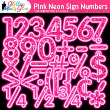 Pink Glitter Neon Sign Numbers Clip Art {Glitter Meets Glue}