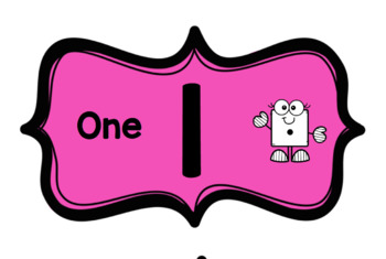 Pink Numeral Labels 1-6