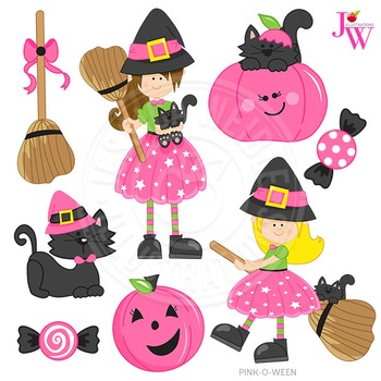 Pink-O-Ween Cute Digital Halloween Clipart, Halloween Witch Graphics
