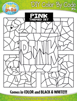 Pink Objects Color By Code Clipart {Zip-A-Dee-Doo-Dah Designs}