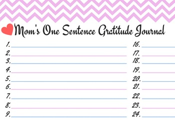 Pink- One sentence lined gratitude journal with hearts for moms