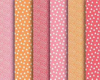 Pink Orange Papers, Dotted Papers, Digital Paper, Pink Orange Paper Set #059