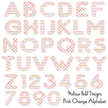Clipart Alphabet: Pink Orange Patterned Alphabet Clip Art