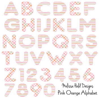 Pink Orange Patterned Alphabet Clipart
