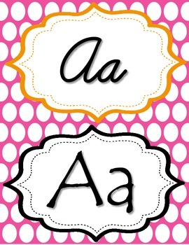 Pink & Orange Polka Dot manuscript & cursive ABC Classroom Decorations