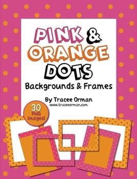 Pink & Orange Polka Dots Frames, Borders, Backgrounds Clip Art