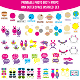 Pink Outer Space Printable Photo Booth Prop Set