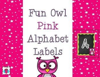 Pink Owl Alphabet Labels