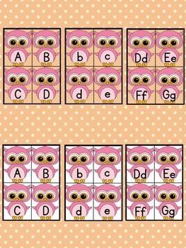 Pink Owl Alphabet Letter Flashcards