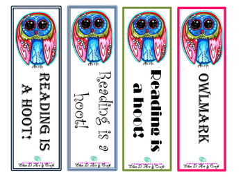 Pink and Blue Owl Bookmark