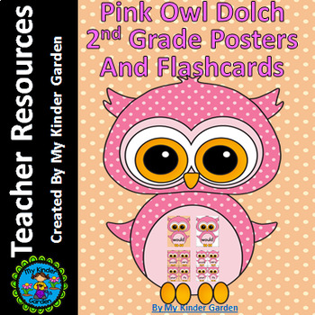 Pink Owl  Dolch 2nd Grade High Frequency Sight Word Flashcards & Posters