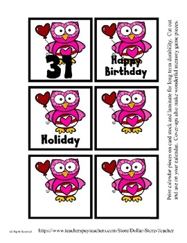 Pink Owl Valentine themed Calendar Cover-Ups