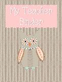 Pink Owl themed Teacher Binder