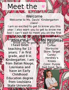 Pink Paisley Meet The Teacher Template **Editable**