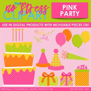 Pink Party Clip Art (Digital Use Ok!)