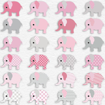 Pink Patterned Elephants And Digital Paper Pack