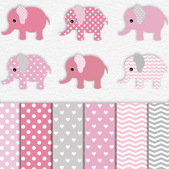 Pink Patterned Elephants And Digital Paper Pack, Cute Elephant